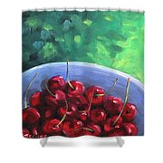 Cherries On A Blue Plate Shower Curtain