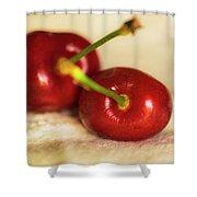 Cherries On White Shower Curtain