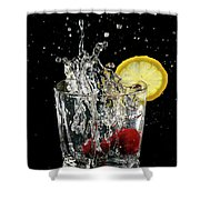Cherries Splashing Into Sparkling Water Glass With Lemon Slice O Shower Curtain