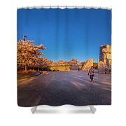 Cherry Blossom At The Mlk Monument Shower Curtain