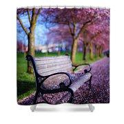 Cherry Blossom Bench Shower Curtain