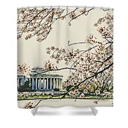 Cherry Blossom Tidalbasin View Shower Curtain