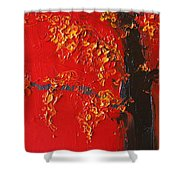 Cherry Blossom Tree - Red Yellow Shower Curtain