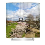 Cherry Blossom Trees At Portland Waterfront Shower Curtain