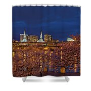 Cherry Blossom Trees At Portland Waterfront During Blue Hour Shower Curtain