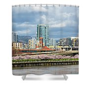 Cherry Blossom Trees At Portland Waterfront Park Shower Curtain