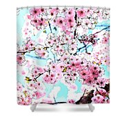 Cherry Blossom Watercolor Shower Curtain