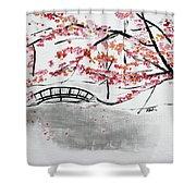 Cherry Blossoms And Bridge II Meadowlark Botanic Gardens 201729  Shower Curtain