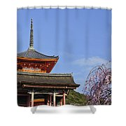 Cherry Blossoms And Kiyomizu-dera Shower Curtain