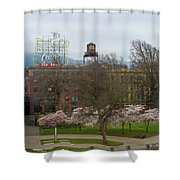 Cherry Blossoms Trees In Portland Old Town Shower Curtain