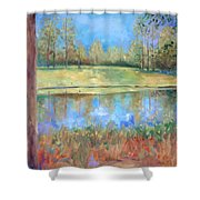 Cherry Moon Pond Shower Curtain