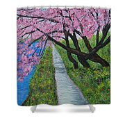 Cherry Trees- Pink Blossoms- Landscape Painting Shower Curtain