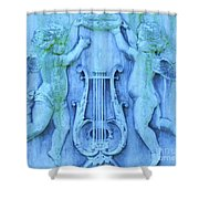 Cherubs In Turquoise Shower Curtain