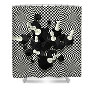 Chessboard And 3d Chess Pieces Composition Shower Curtain