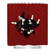Chessboard And 3d Chess Pieces Composition On Red Shower Curtain