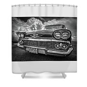 Chevrolet Biscayne 1958 In Black And White Shower Curtain