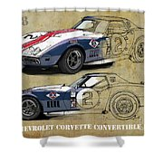 Chevrolet Corvette Convertible L88 1968,original Fast Race Car. Two Drawings, One Print Shower Curtain