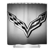 Chevrolet Corvette Emblem -0406bw Shower Curtain