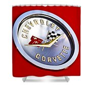 Chevrolet Corvette Hood Ornament Shower Curtain