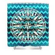 Chevron Print Compass Blue Shower Curtain