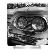 Chevy Corvair Headights And Bumper Black And White Shower Curtain