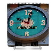 Chevy Neon Clock Shower Curtain