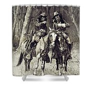 Cheyenne Scouts Patrolling The Big Timber Of The North Canadian, Shower Curtain