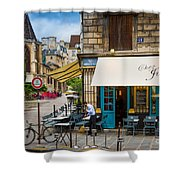 Chez Julien Shower Curtain by Inge Johnsson