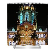 Chhatrapati Shivaji Terminus Formerly Victoria Terminus In Mumbai-3 Shower Curtain