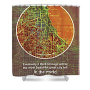 Chicago 1957 Old Map, Chicago Frank Lloyd Wright Quote Shower Curtain