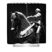 Chicago Art Institute Armored Knight And Horse Bw 01 Shower Curtain