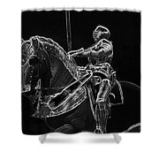 Chicago Art Institute Armored Knight And Horse Bw Pa 02 Shower Curtain