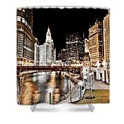 Chicago At Night At Wabash Avenue Bridge Shower Curtain