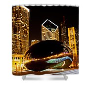 Chicago Bean Cloud Gate At Night Shower Curtain by Paul Velgos
