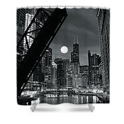 Chicago Black And White Nights Shower Curtain