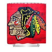 Chicago Blackhawks Hockey Team Vintage Logo Made From Old Recycled Illinois License Plates Red Shower Curtain