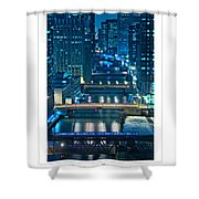 Chicago Bridges Poster Shower Curtain