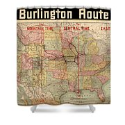 Chicago, Burlington Route System Map, 1892. Shower Curtain