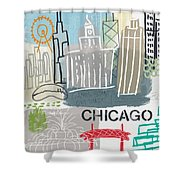 Chicago Cityscape- Art By Linda Woods Shower Curtain