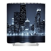 Chicago Cityscape At Night Shower Curtain