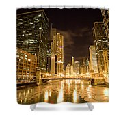 Chicago Downtown City  Night Photography Shower Curtain