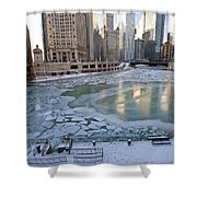 Chicago Downtown City  Night Photography Wrigley Square Shower Curtain