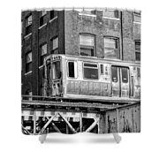 Chicago El And Warehouse Black And White Shower Curtain