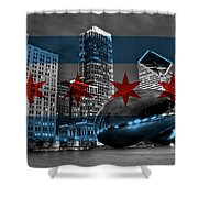 Chicago Flag Bean Shower Curtain
