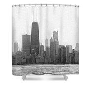 Chicago Frozen Skyline Panorama Shower Curtain