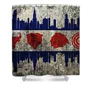 Chicago Grunge Flag Shower Curtain