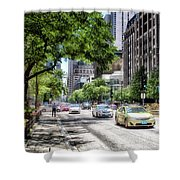 Chicago Hailing A Cab In June Shower Curtain