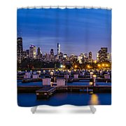 Chicago Harbor View At Night Shower Curtain