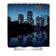 Chicago High-rise Buildings By The Lincoln Park Pond At Night Shower Curtain