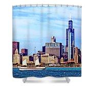 Chicago Il - Schooner Against Chicago Skyline Shower Curtain
